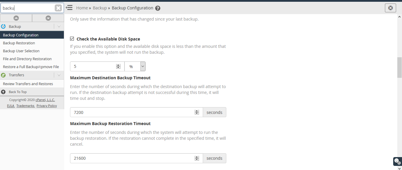 Backup Configuration Wizard 2
