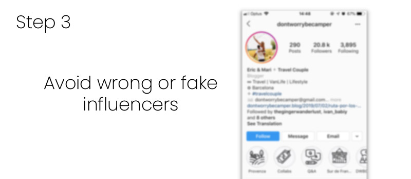 Avoid wrong or fake influencers